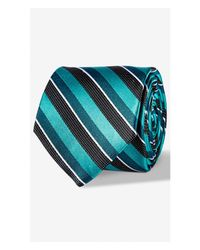 Express | Green Tonal Stripe Narrow Silk Tie - Blue for Men | Lyst