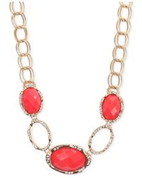 Jones New York | Pink Gold-Tone Coral Stone And Crystal Frontal Necklace | Lyst