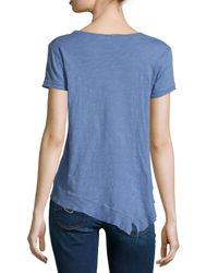 Jethro | Blue Short-sleeve Shrunken Asymmetric Tee | Lyst