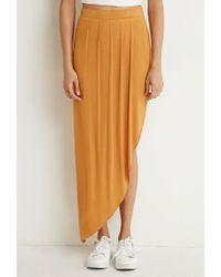 Forever 21 - Orange Pleated Asymmetrical Skirt - Lyst