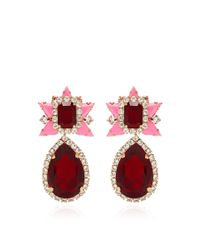 Shourouk - Galaxy Goldplated Swarovski Crystal Earrings in Pink - Lyst