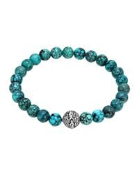 John Hardy | Blue Large Turquoise Beaded Bracelet With Magnetic Clasp | Lyst