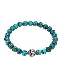John Hardy - Blue Large Turquoise Beaded Bracelet With Magnetic Clasp - Lyst