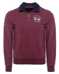 La Martina | Purple Contrast Collar Zip Sweater for Men | Lyst