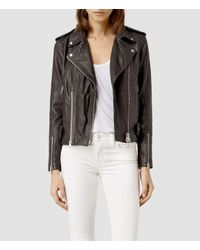 AllSaints - Gray Addison Leather Biker Jacket - Lyst