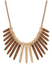 Lucky Brand | Metallic Gold-tone Wood Statement Necklace | Lyst
