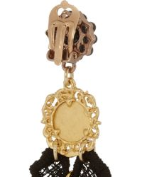 Dolce & Gabbana | Black Va Goldplated Resin and Macramé Lace Clip Earrings | Lyst