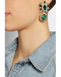 Shourouk - Green Comet Gold-Plated, Swarovski Crystal And Sequin Clip Earrings - Lyst