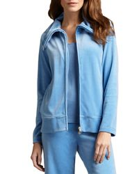 Joan Vass - Blue Velour Track Jacket - Lyst