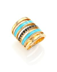 Pamela Love | Blue Sue?o Pave Black Spinel & Turquoise Ring | Lyst