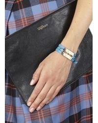 McQ | Blue Turquoise Razor Leather Wrap Bracelet | Lyst