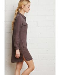 Forever 21 - Gray Cotton Utility Shirt Dress - Lyst