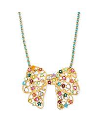 Betsey Johnson - Metallic Antique Goldtone Multicharm Bow Pendant Necklace - Lyst