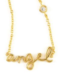 Shy By Sydney Evan - Metallic Angel Word Diamond-detail Gold-plate Necklace - Lyst