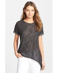 Bobeau - Black Asymmetrical Short Sleeve Tee - Lyst
