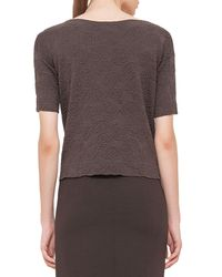 Akris - Brown Rose Jacquard Half-sleeve Top - Lyst