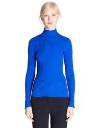 MSGM - Blue Slim Rib Knit Turtleneck - Lyst