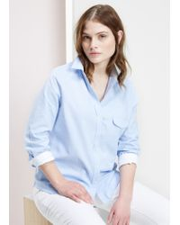 Violeta by Mango - Blue Chest-Pocket Cotton Shirt - Lyst