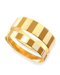 Tuleste - Metallic Enamel Step Bangles In Yellow/golden - Lyst