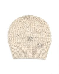 Jennifer Behr   Natural Crystal Snowflake Knit Blizzard Beanie Hat   Lyst