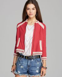 Free People | Red Jacket Crochet Inset Baseball | Lyst