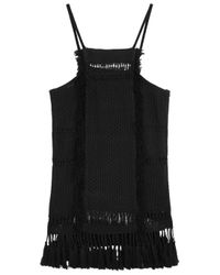 Isabel Marant | Teno Black Open Knit Cotton Blend Top | Lyst