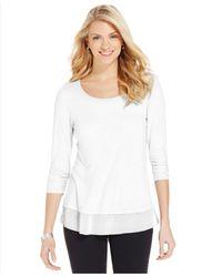 Style & Co. - White Chiffon-hem Three-quarter-sleeve Top - Lyst