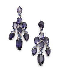 Alexis Bittar Fine - Purple Blueberry Marquis White Iolite Grey Diamond Sapphire Sterling Silver Kite Chandelier Earrings - Lyst