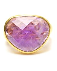 Ram | Purple Hammered 22k Gold And Amethyst Ring | Lyst