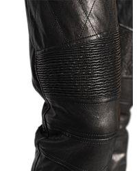 Belstaff - Black Washed Leather Biker Pants - Lyst