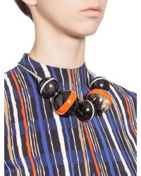 Marni | Multicolor Necklace With Spheres In Horn Threaded Onto A Wool Ribbon | Lyst