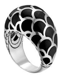 John Hardy | Metallic Naga Silver Enamel Dome Ring With Black Enamel for Men | Lyst