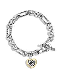 David Yurman | Metallic Cable Heart Charm Bracelet With Gold | Lyst
