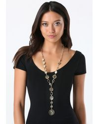 Bebe - Metallic Coin Lariat Necklace - Lyst