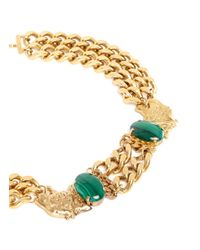 Ela Stone | Green 'grace' Leopard Charm Malachite Chain Necklace | Lyst