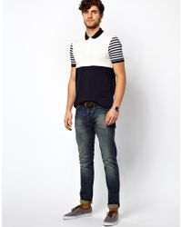 ASOS | Blue Polo with Polka Dot Cut and Sew for Men | Lyst