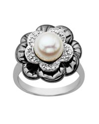 Lord & Taylor | Metallic Pearl And Diamond-accented Ring In Sterling Silver | Lyst