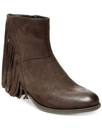 Steven by Steve Madden - Brown Cassidy Fringe Booties - Lyst