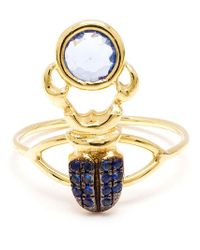 Daniela Villegas - Metallic Blue Sapphire Beetle Ring - Lyst