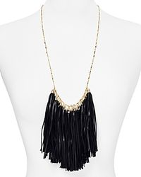 "BaubleBar - Black Leather Tassel Bib Necklace, 24"" - Lyst"