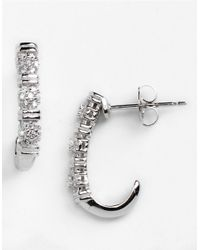 Lord & Taylor - Metallic Sterling Silver And Cubic Zirconia Huggie Earrings - Lyst
