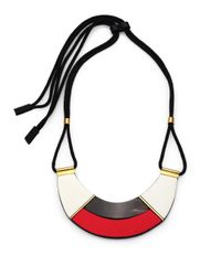 Marni | Red Colorblock Leather & Horn Bib Necklace | Lyst