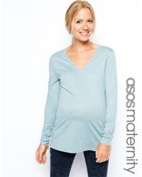ASOS - Blue Asos Maternity Top With Long Sleeves And V Neck - Lyst