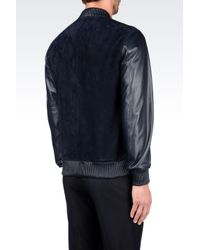 Emporio Armani | Blue Bomber In Suede And Leather for Men | Lyst