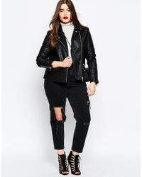 ASOS - Curve Thea Girlfriend Jean In Washed Black With Madness Rips - Lyst