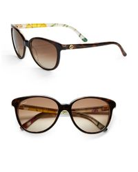 Gucci | Brown Floral 55Mm Round Sunglasses | Lyst