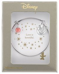 Disney - Metallic Minnie Mouse Cherry Quartz Charm Bracelet In Stainless Steel - Lyst