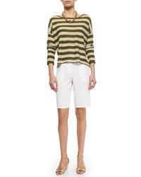 Eileen Fisher - Green Twill Long Shorts - Lyst