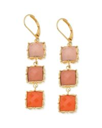 T Tahari | Metallic Goldtone Coral Resin Stone Triple Drop Earrings | Lyst