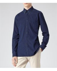 Reiss | Blue Demetri Dark Denim Shirt for Men | Lyst